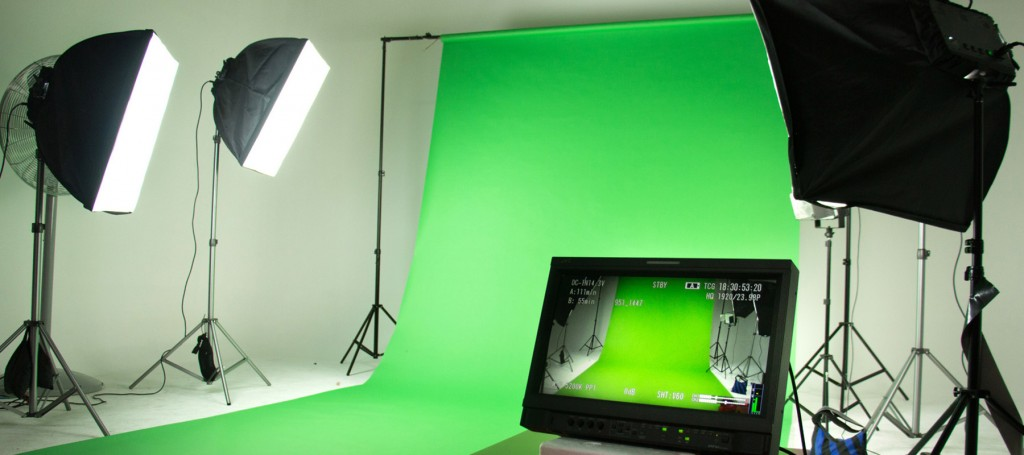 Studio set up with a green screen